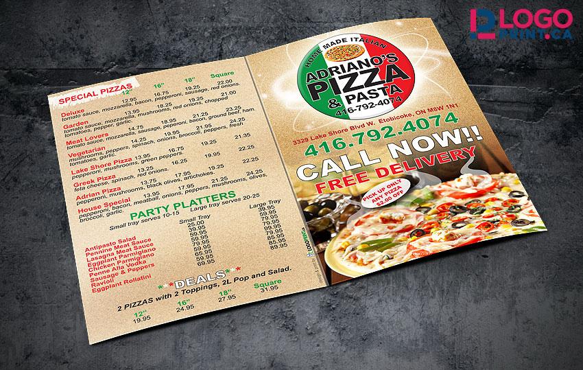 Adrianos Pizza Menu Mississauga Printing Logo Print