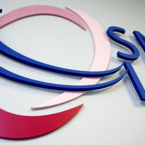 SNX Reception Signage on a curved wall by LOGO PRINT