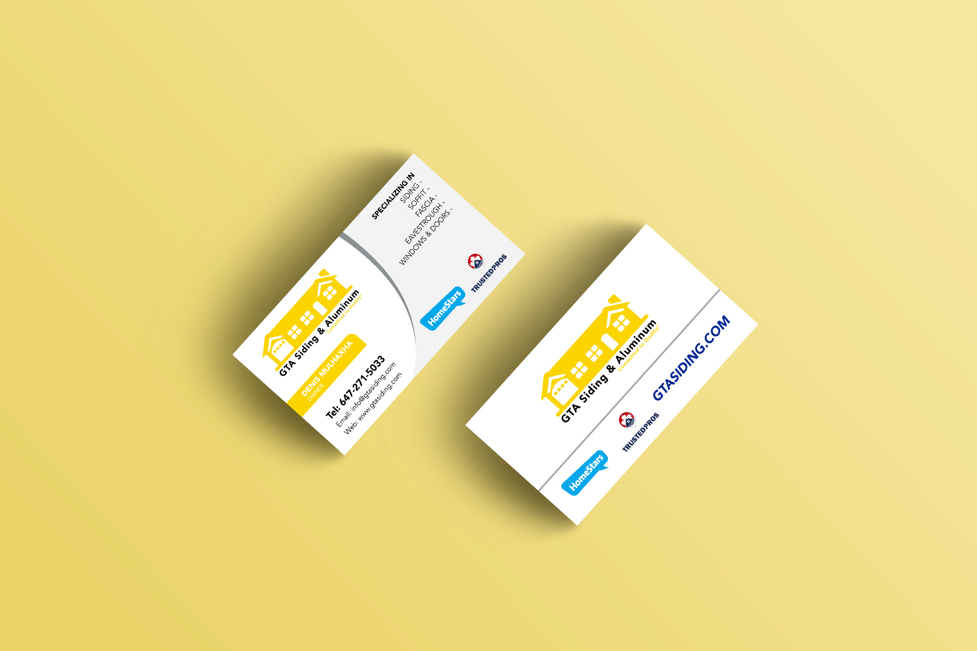 Business card designs logo print gta siding and aluminum business card reheart Image collections